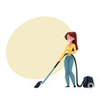 pretty young woman housewife cleaning house with vector image vector image