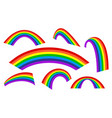 rainbow set rainbow arch different styles vector image vector image