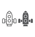 rocket line and glyph icon shuttle and astronomy vector image vector image