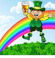 saint patrick day leprechaun with a glass beer vector image