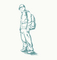 schoolboy with backpack sketch vector image