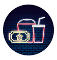 set of movie objects a neon vector image vector image