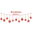 set of red christmas balls hanging on white vector image