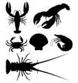 set of silhouette seafood vector image vector image