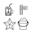 set tools to vacation summer day vector image vector image
