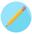 simple color pencil icon with rubber in flat vector image