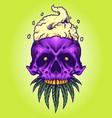 skull smoke cannabis mascot vector image vector image