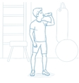 Sportive man drinking water in the gym vector image