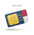State of North Carolina phone sim card with flag vector image vector image