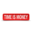 Time is money red 3d square button isolated on vector image vector image