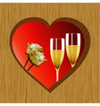 Valentine wooden heart champagne and roses vector image vector image