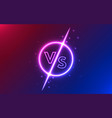 versus vs design blue neon logo template for vector image vector image