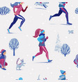 winter running seamless pattern - people and pets vector image