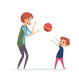 woman play with boy outdoor active games with vector image vector image