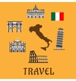 Italy flat travel symbols and icons vector image