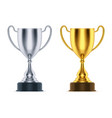 3d golden and realistic silver cup or trophy vector image vector image