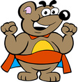 an Happy Strong Super Hero Bear vector image vector image