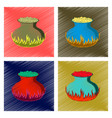 assembly flat shading style icon potion cauldron vector image vector image