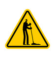 attention cleaner caution janitor yellow triangle vector image vector image