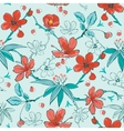 blue red japanese flowers seamless pattern vector image vector image
