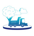 blue silhouette dump truck in the city with clouds vector image vector image