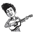 Bob Dylan Cartoon Black and White vector image vector image