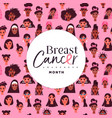 breast cancer seamless pattern diverse woman vector image vector image