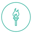 Burning olympic torch line icon vector image vector image