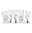 cartoon group business people thinking vector image vector image