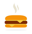 cheeseburger with hot steam vector image vector image