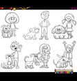 children and dog characters coloring book vector image vector image