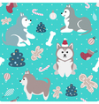 Christmas seamless pattern with cute husky dogs vector image vector image
