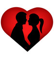 couple silhouette bride and groom vector image vector image