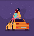couple sitting on car roof at night looking stars vector image vector image