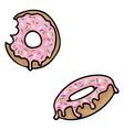 cute donut cartoon motif set vector image vector image