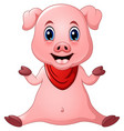 cute pig cartoon sitting vector image vector image
