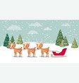 deer with sled in snowscape vector image