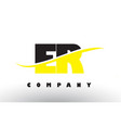 er e r black and yellow letter logo with swoosh vector image