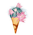 fashion with creative ice cream from cactus vector image