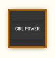 feministic quote on square black letterboard with vector image
