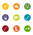 forest walk icons set flat style vector image vector image