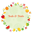 Fruits And Drinks On Circle Frame vector image vector image