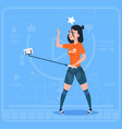 girl stream modern video blog with cell smart vector image vector image