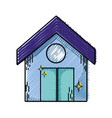 grated clean house with roof and door design vector image vector image