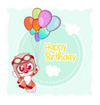 greeting card cute cartoon fox vector image vector image
