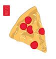 hand drawn pizza poster fast food mozzarella vector image