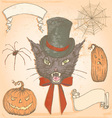 Hand Drawn Vintage Halloween Creepy Cat Set vector image