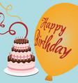happy birthday cake streamer balloon vector image vector image