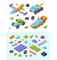 kids constructor toys isometric set variety vector image vector image
