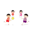 Little children playing volleyball vector image vector image